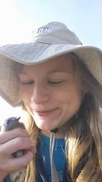 Sarah McPeek proudly surveys a male eastern bluebird captured in her mist net.