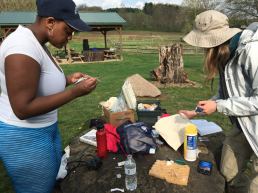 Akasha Walker and Sarah McPeek dive into fieldwork with their research looking at aggression and immune function tradeoffs in eastern bluebirds and tree swallows at the BFEC. Akasha prepares to take a blood sample from one swallow while Sarah records measurements from another.
