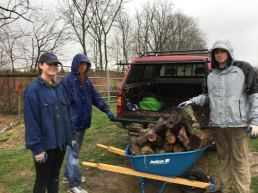 Ted Boggess, Fiona Ellsworth, Alex Law--along with Professor Bagne, set up the wood in the 3 locations for their project on salamander habitat use. It was, if the picture is not clear, quite rainy.